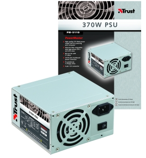 TRUST PW-5110 370W PSU, 24-pin, 37 dB, 8 cm